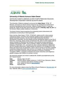 Alumni Award for Bonnie Doon resident Adam Sweet