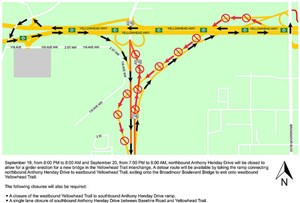 Weekend closures on the Henday at Yellowhead Trail and Baseline Road