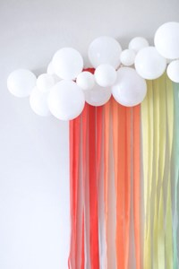 Cool Unicorn Party Ideas – Balloon Cloud and Rainbow Streamers Backdrop
