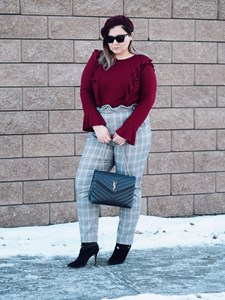 Ruffle Blouse and Plaid Pants