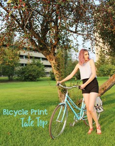 I Want To Ride My Bicycle // Sweet Printed Tate Top