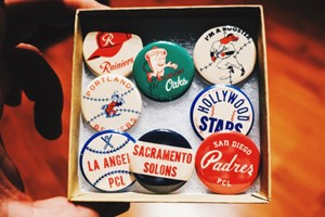A Pacific Coast League (PCL) pin set, via Ebbets Field Flannels....