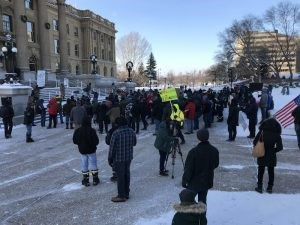 S.O.S. for secession? Only about 150 make it to frigid Wexit rally at Alberta Legislature Building