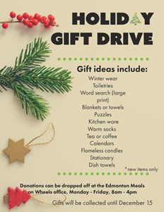 Meals on Wheels Holiday Gift Drive 2017