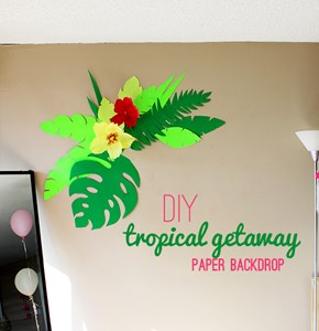 Bright DIY Tropical Paper Backdrop