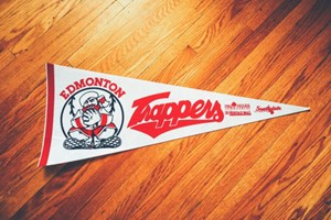 Edmonton Trappers pennant. Love the mall logos on there, too.