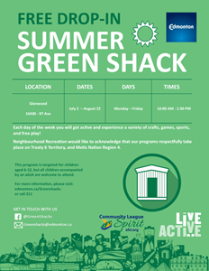 Summer Green Shack – Free drop-in programs for kids – crafts, games, sports and more