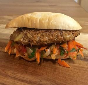 Kazakh Manti Burger with Sabzi Piez