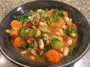 Quick Cassoulet – French chicken, sausage and white bean stew