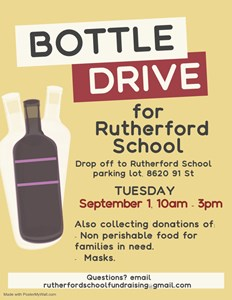 Rutherford School Bottle and Food Drive - September 1, 2020