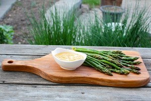 Lemon Thyme Pickled Asparagus with Cheese Fondue