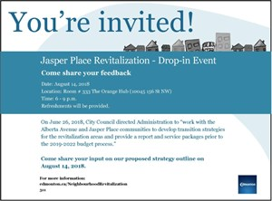 Jasper Place Revitalization – Drop-in Event on August 14