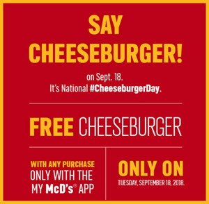 Treat Yo'Self to a FREE McDonald's Cheeseburger on Tuesday