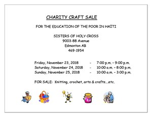 Sisters Of Holy Cross Craft Sale - Nov 23, 24, 25, 2018