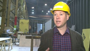 Shipping containers being converted into staff housing in Banff