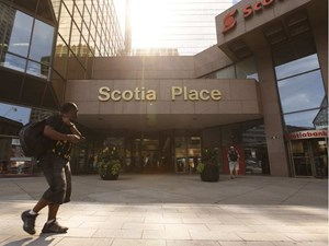 Out with the gold, in with the blue as Scotia Place plans major exterior renovations