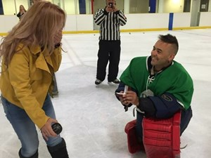 Goalie scores with centre-ice proposal at Edmonton beer league game