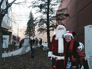 Santa helps welcome redeveloped park to Edmonton's 4th street promenade area