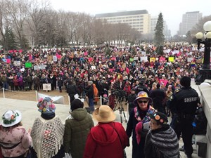 Huge crowds gathered for 'sister march' at legislature following Trump inauguration