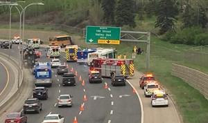 12 injured in school bus crash on Whitemud