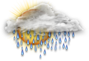 A mix of sun and cloud with 30 percent chance of showers. Low 9. High 19.