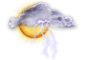 Mainly cloudy. 60 percent chance of showers late this afternoon with risk of a thunderstorm. Wind becoming northwest 20 km/h gusting to 40 near noon. High 21. UV index 5 or moderate.
