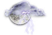 Partly cloudy. 30 percent chance of showers this evening with risk of a thunderstorm. Low 16.